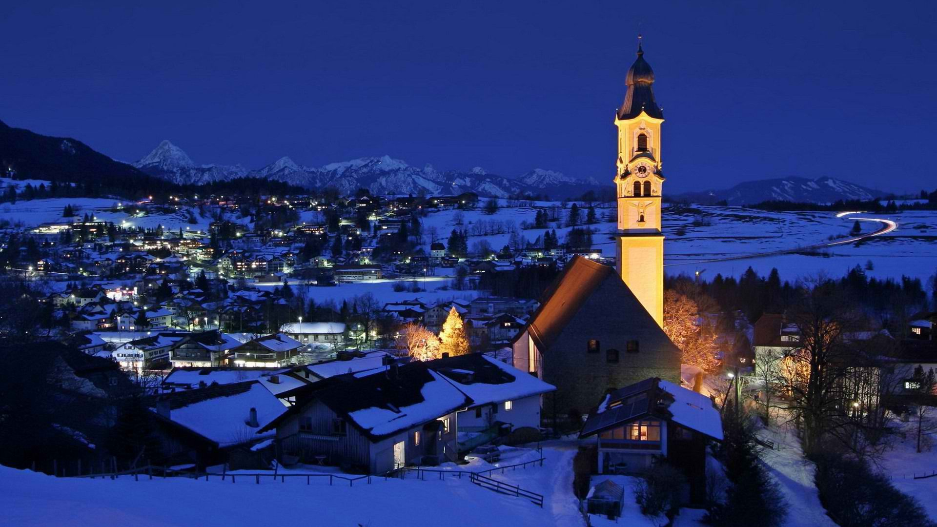 christmas in the alps Village in the Alps Germany wallpaper 1920x1080