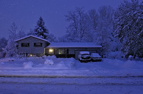 All Cozy in our Snowy Home View Large on Black Fort Colli 500x330
