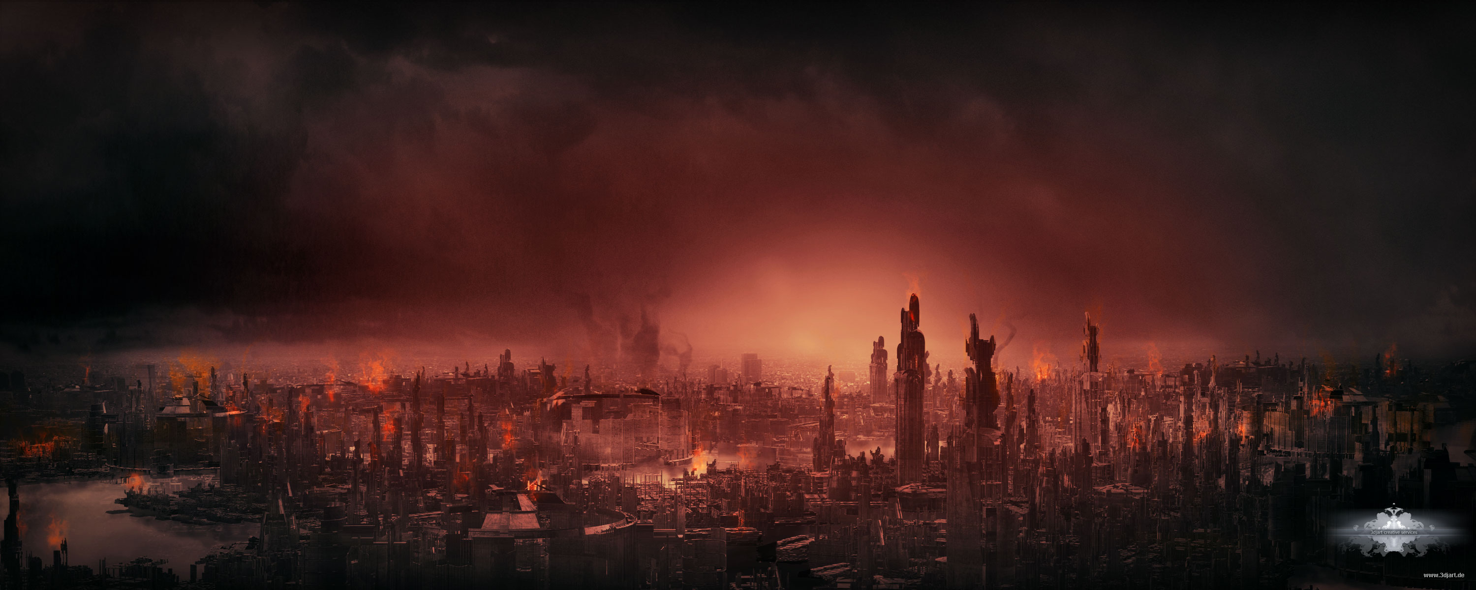 Destroyed City Landscape Destroyed city mattepainting 3000x1200