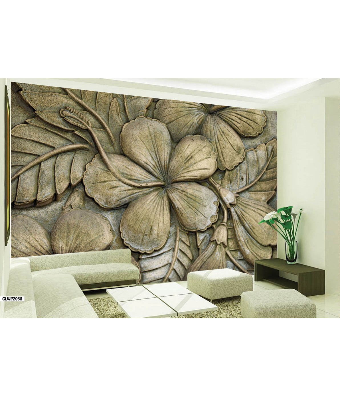 Home Abstract Floral Art Stone Effect Three 3D Wallpaper 1192x1389