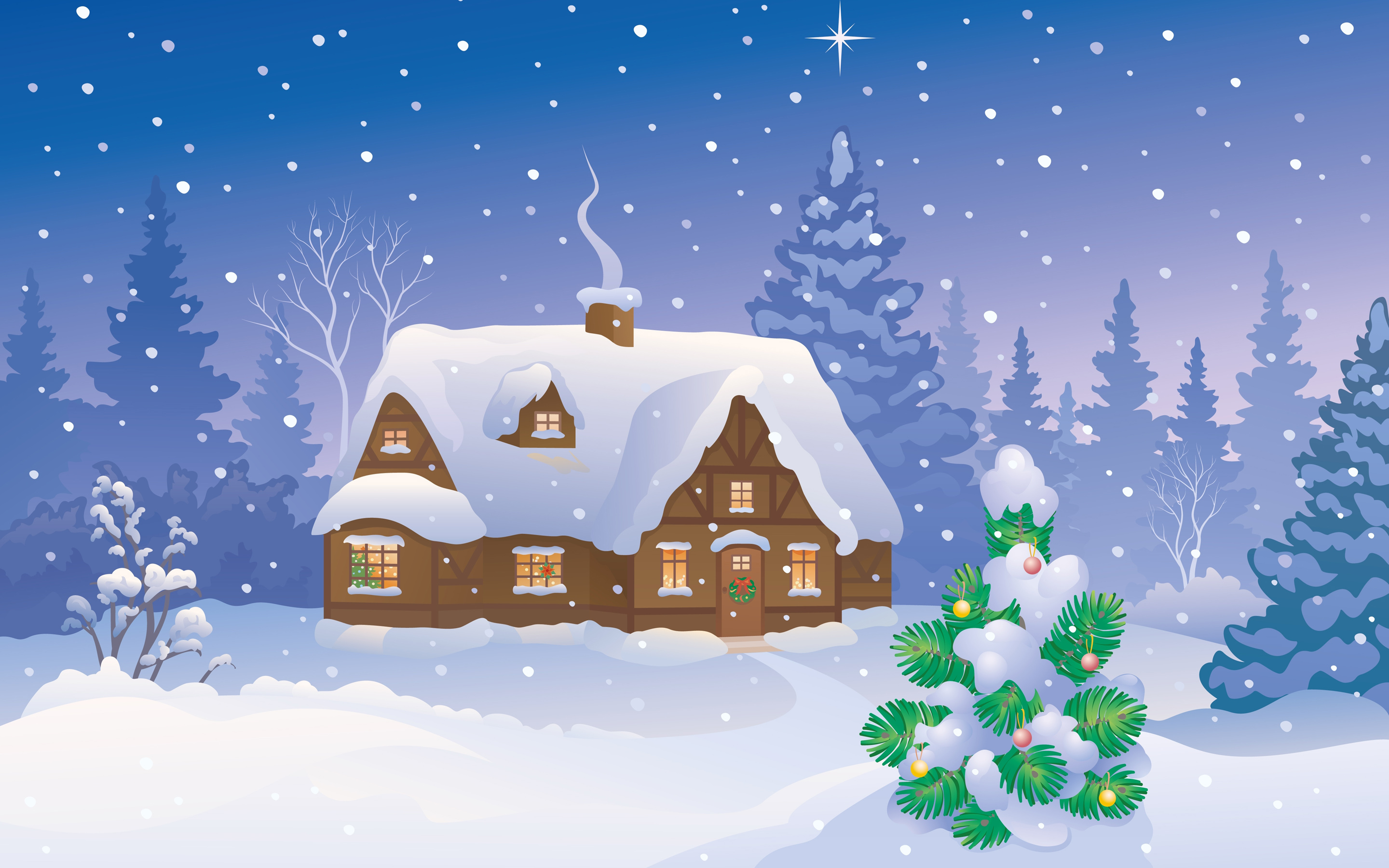 Merry Christmas Winter Home Wallpaper 2880x1800