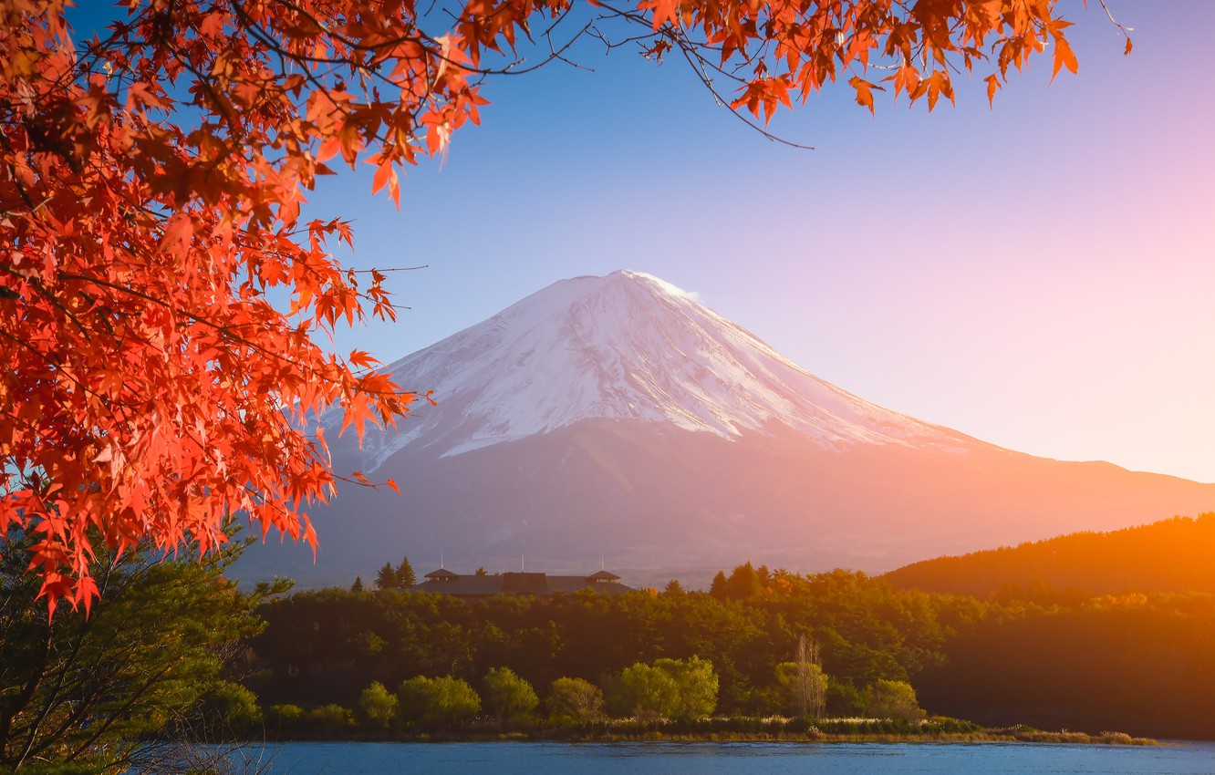 Wallpaper autumn the sky leaves colorful Japan Japan red 1332x850