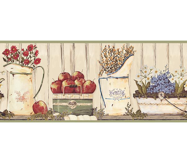 Sage Apple and Floral Container Wallpaper Border 600x525