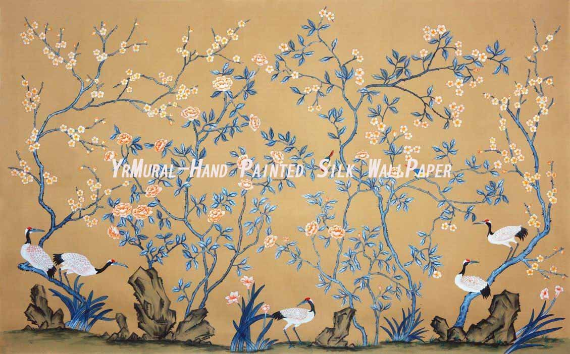 HD wallpaper Hand Painted Chinese Style Silk Wallpaper Murals Yrs by 1129x702