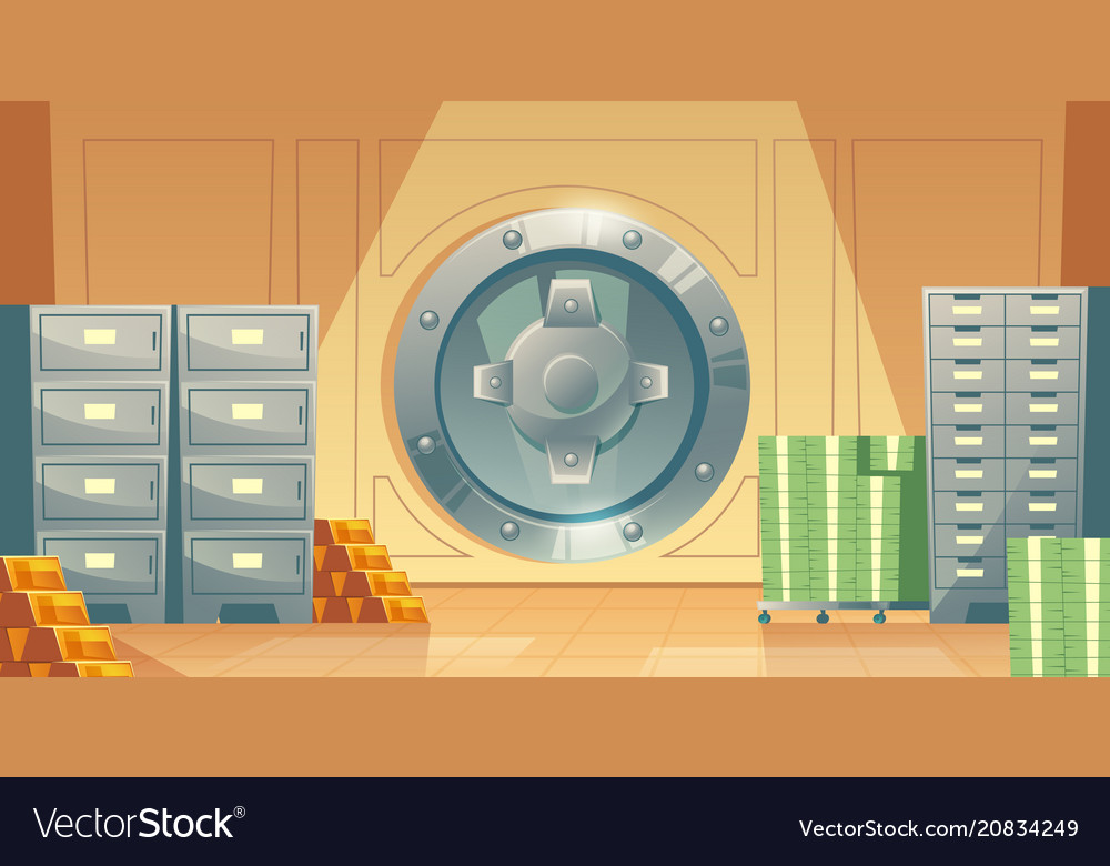 Bank vault background with money gold Royalty Vector 1000x780