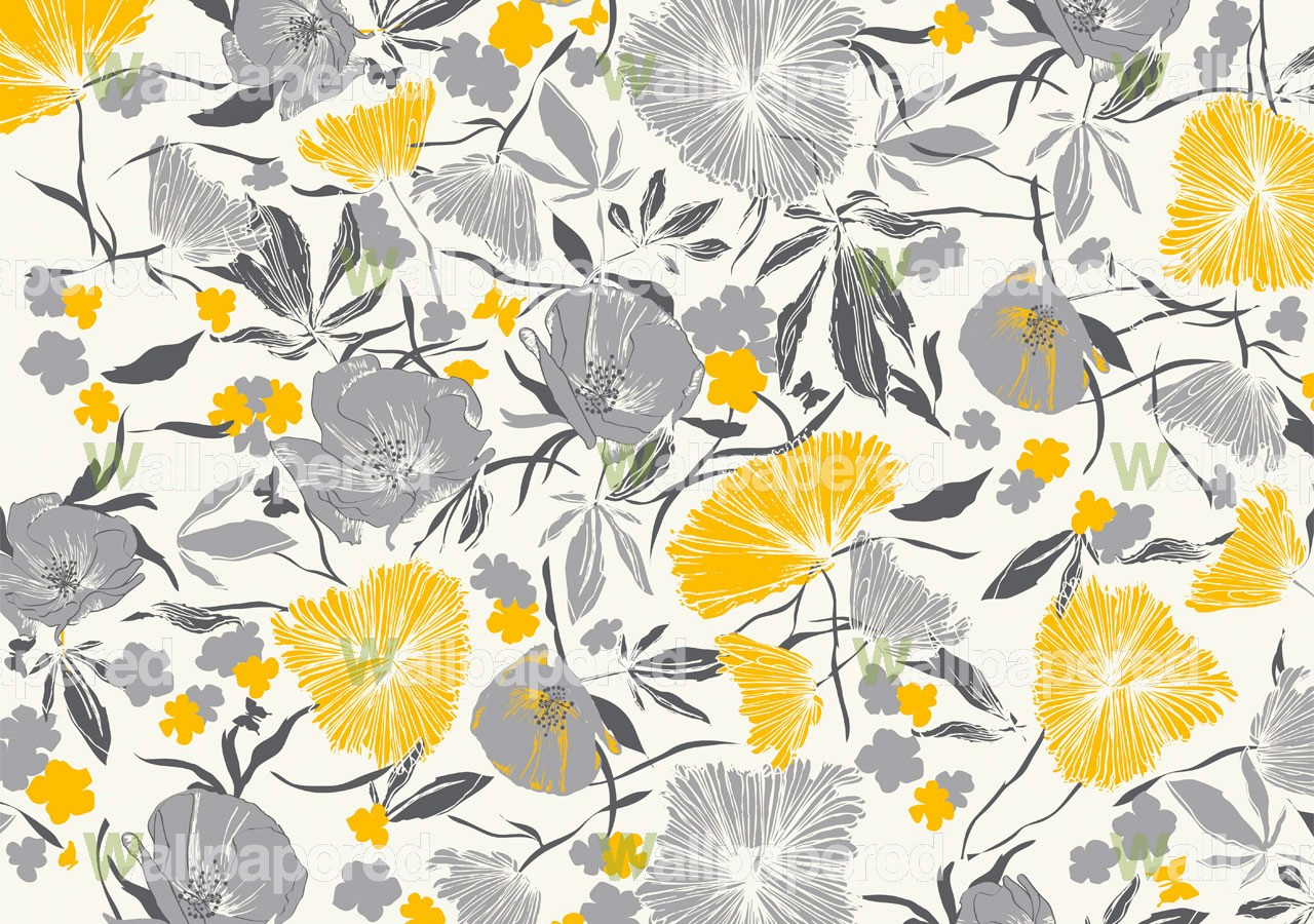 Yellow And Gray Floral Pattern Yellow and Grey Wallpa...