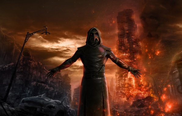 Wallpaper Apocalypse The plague doctor mystic fire 596x380