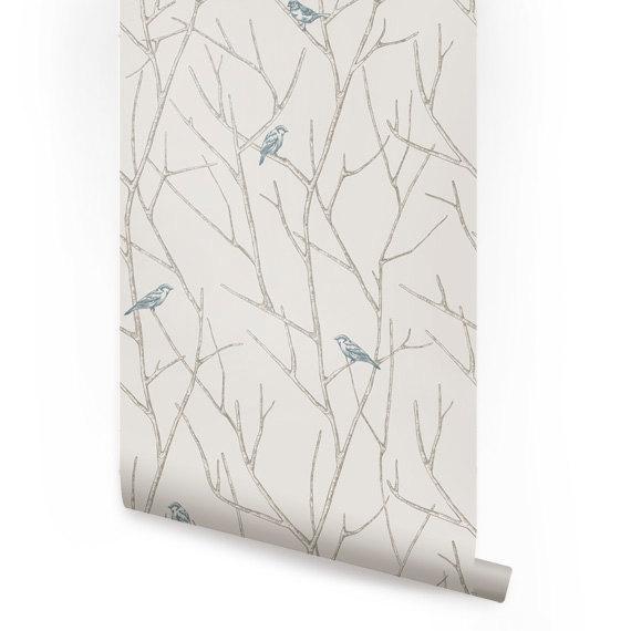 Branch Birds Blue Peel Stick Fabric Wallpaper Repositionable 570x570