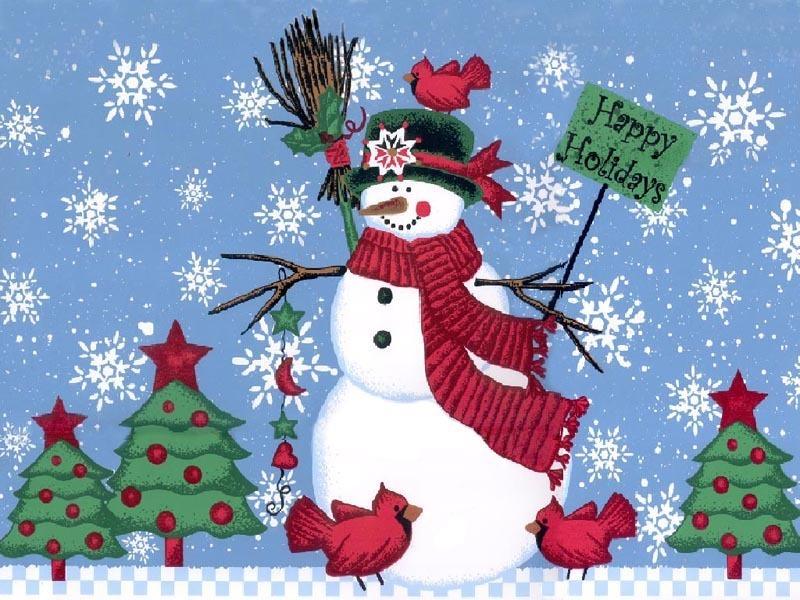 Christmas Snowman Wallpaper Wallpapersafari