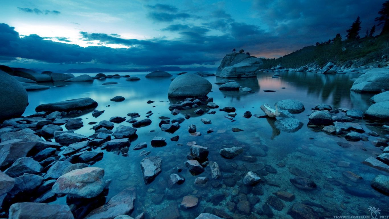 Free download dark nature wallpaper Dark Blue Sunset Rocks River