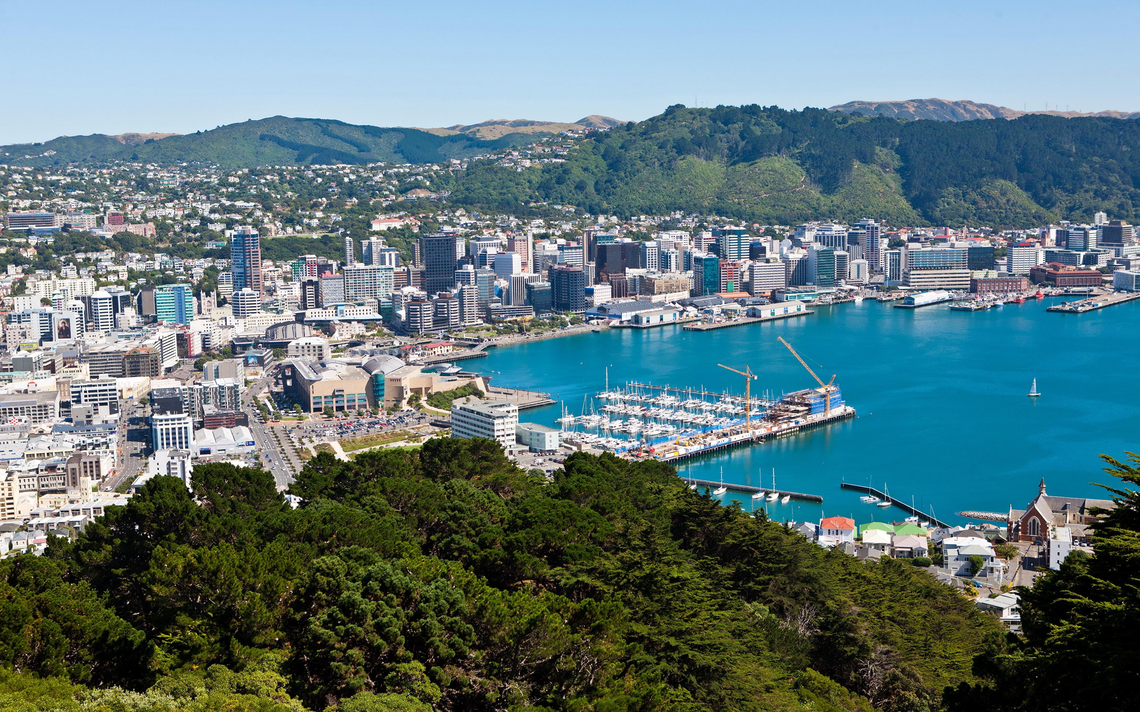 Images New Zealand Wellington Coast Marinas From above 3840x2400 3840x2400