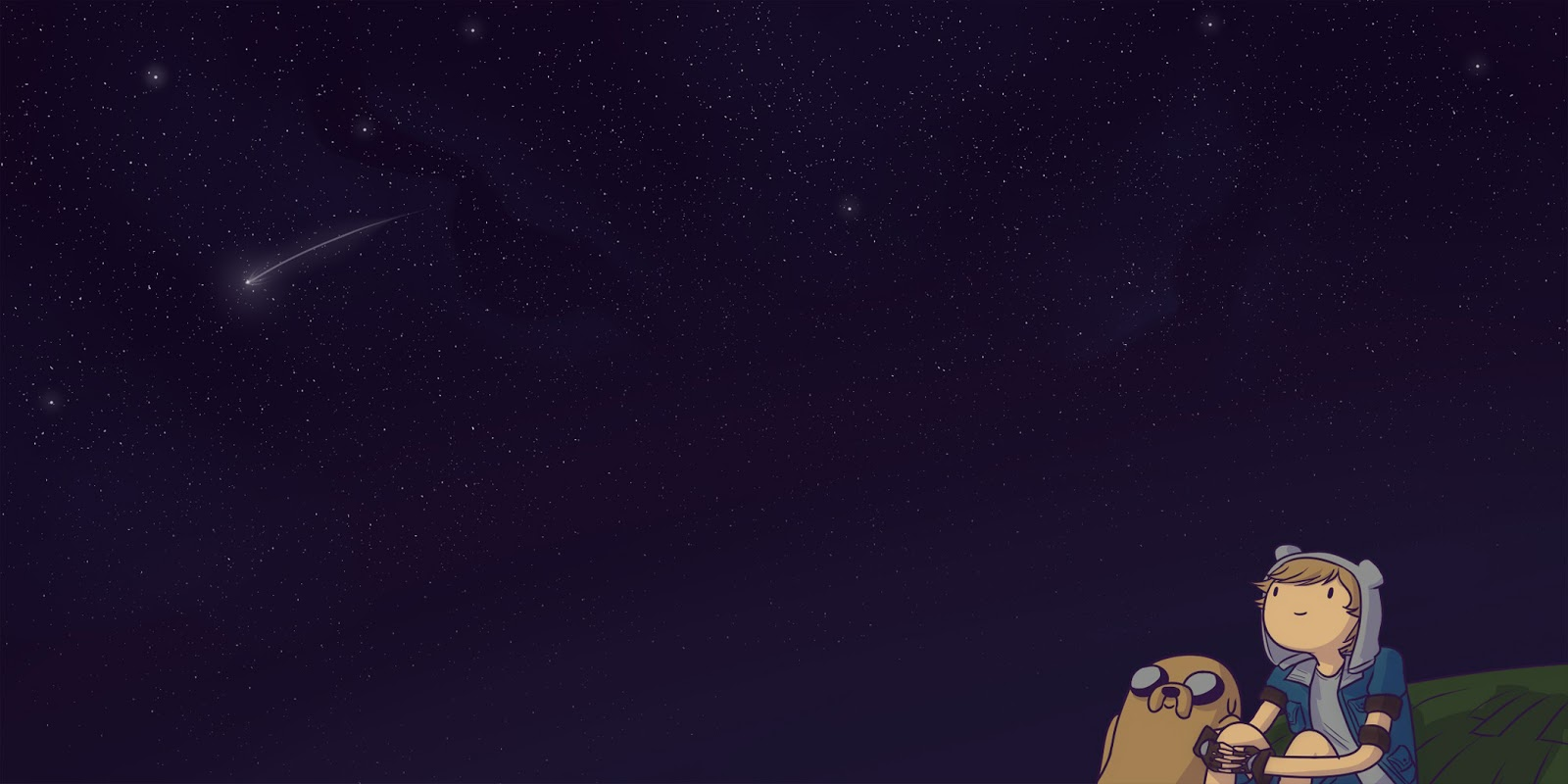 Adventure Time Cartoon Night Sky Shooting Stars Scenery HD Wallpaper 1600x800