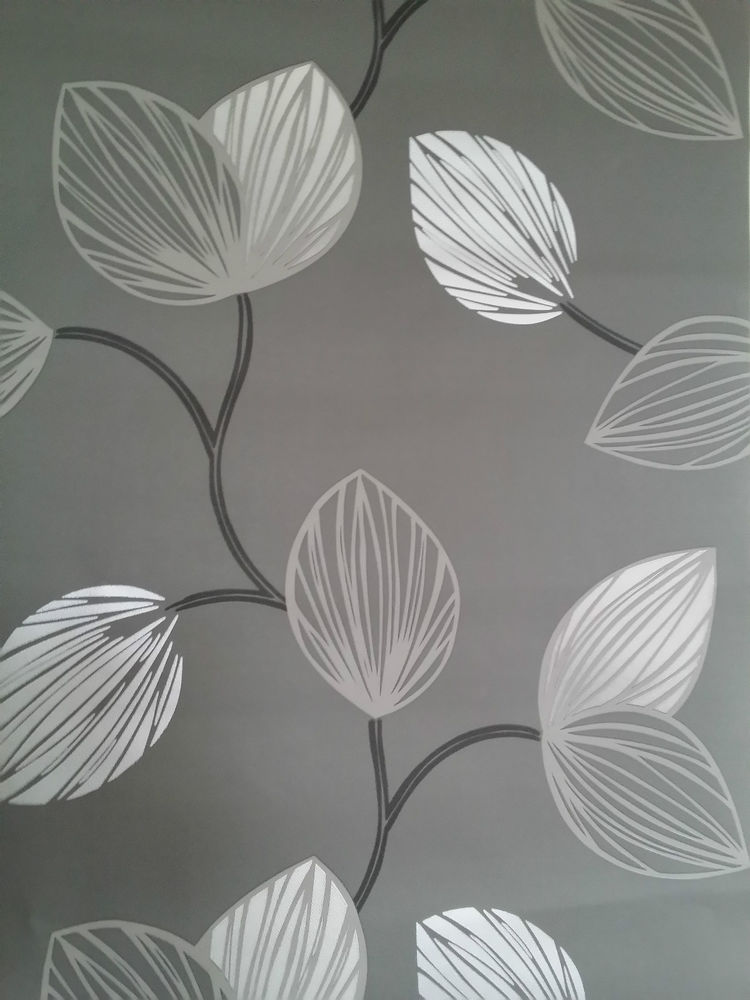 BLACK GREY SILVER LEAF DESIGNER FEATURE WALL WALLPAPER eBay 750x1000