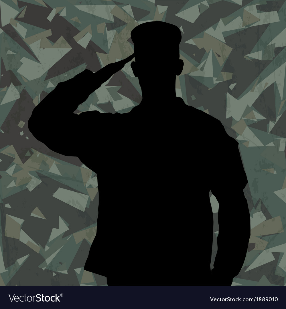 Saluting soldier on green army background Vector Image 999x1080