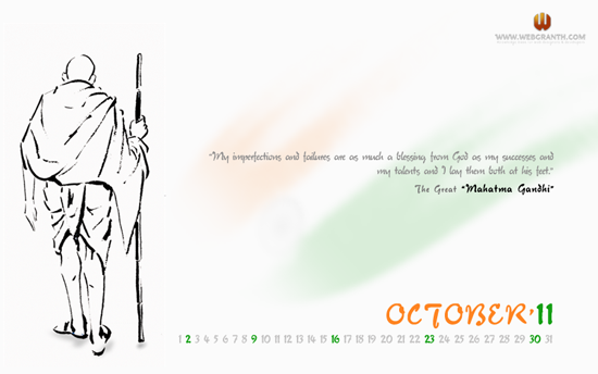 The Desktop calendar wallpaper October 201 1 above displays Mahatma 550x344