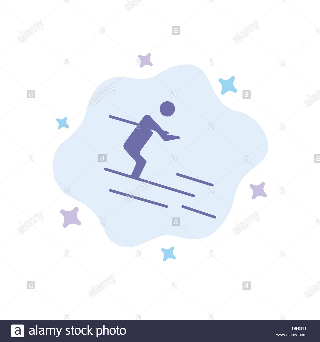 Activity Ski Skiing Sportsman Blue Icon on Abstract Cloud 1300x1390