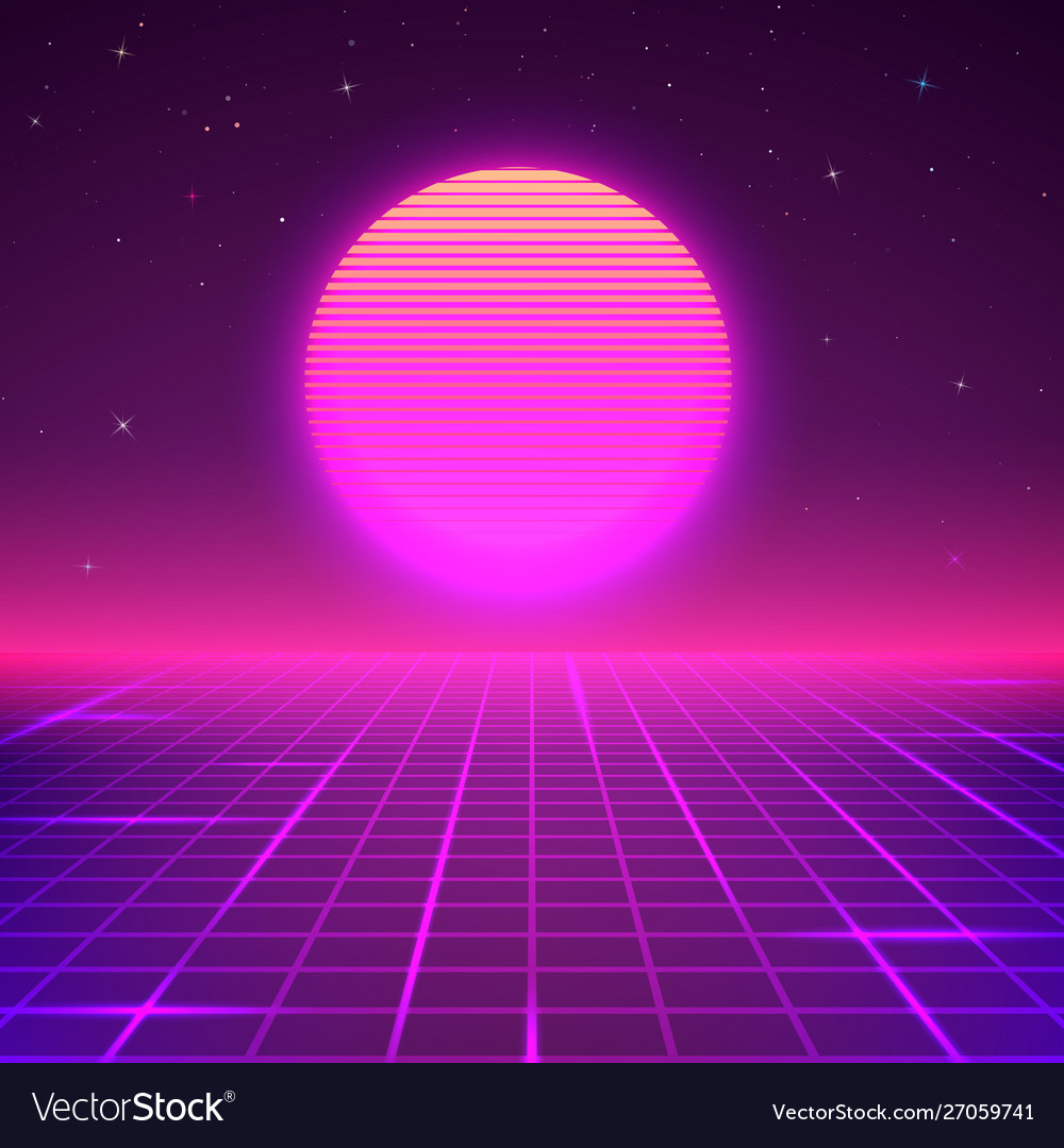 80s style background sci fi or retro music poster Vector Image 1000x1080