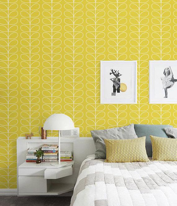 Selfadhesive Peel and stick vinyl wallpaper   Leaf pattern print 570x665