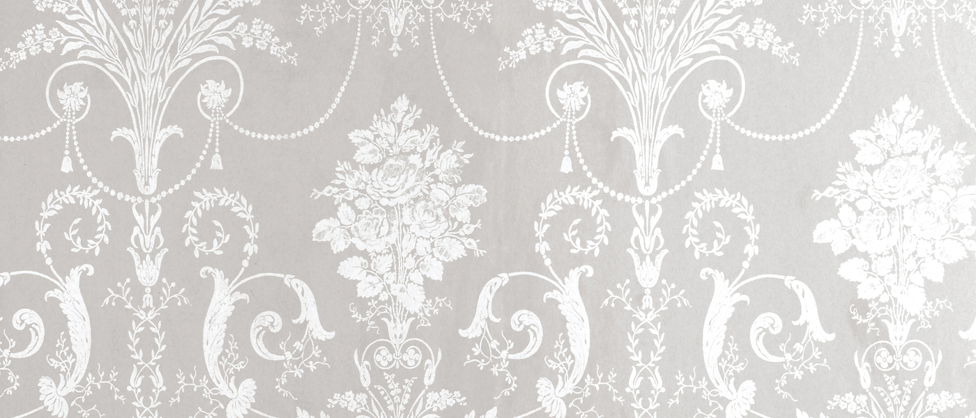 Josette WhiteDove Grey Damask Wallpaper at Laura Ashley 1400x600