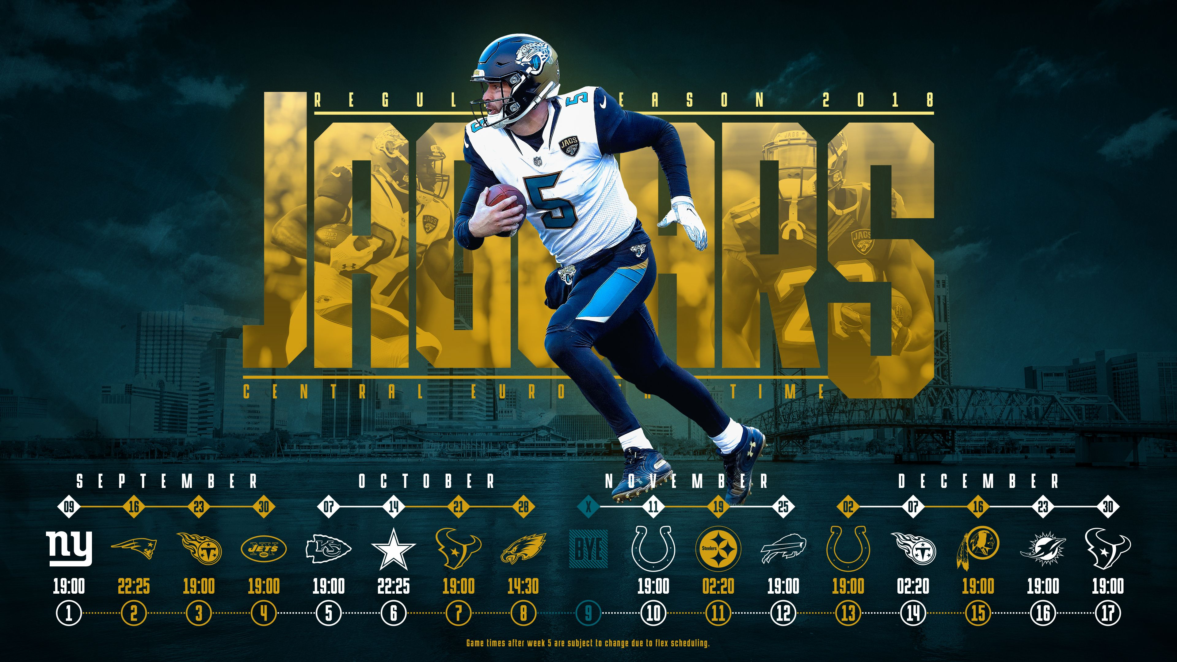 Schedule wallpaper for the Jacksonville Jaguars Regular Season 3840x2160