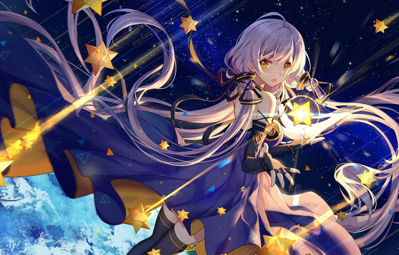 Wallpaper Girl long hair dress anime stars artwork yellow 1332x850