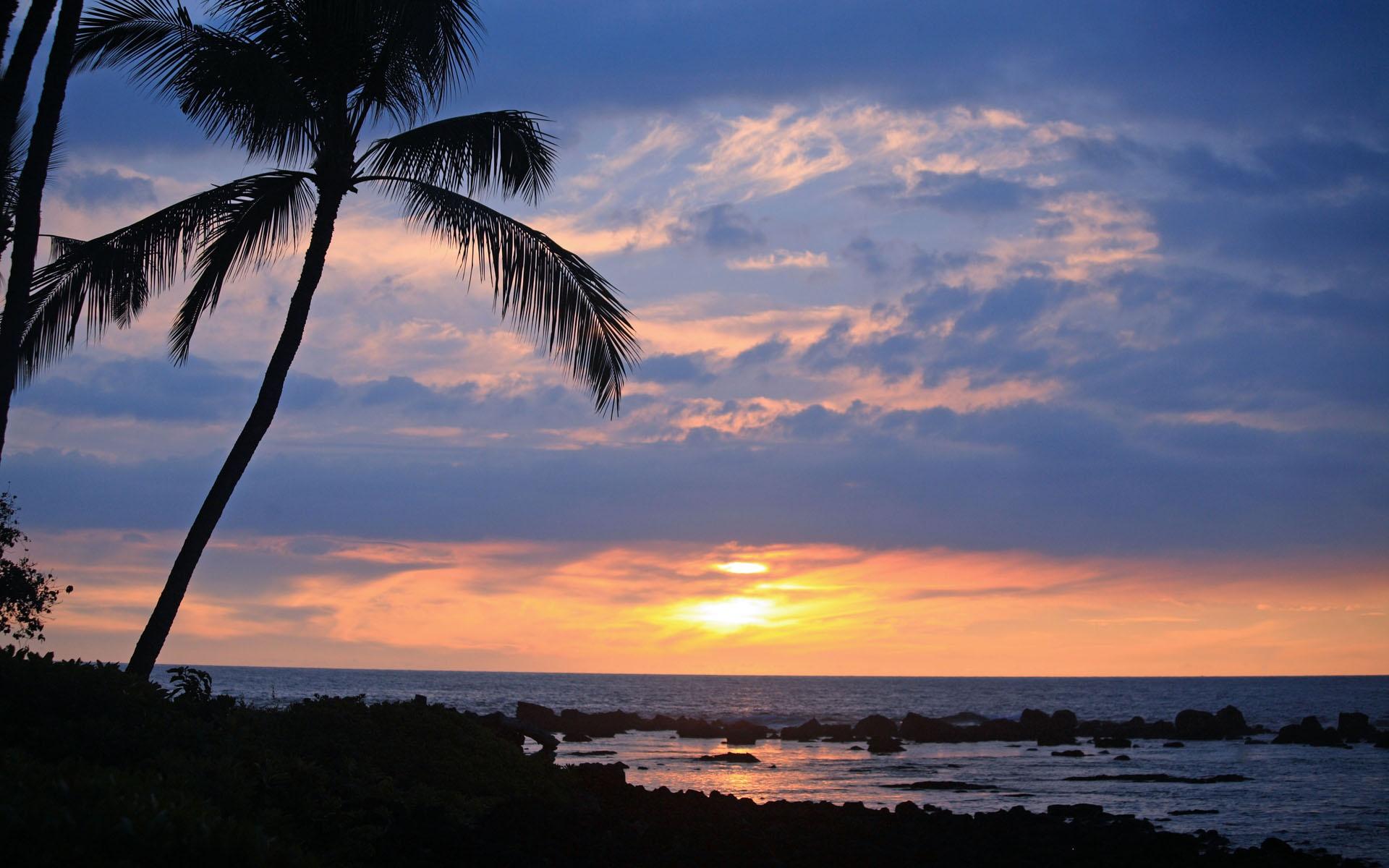 Hawaiian Beach Sunset Wallpaper Background: Hawaii Sunsets Wallpaper