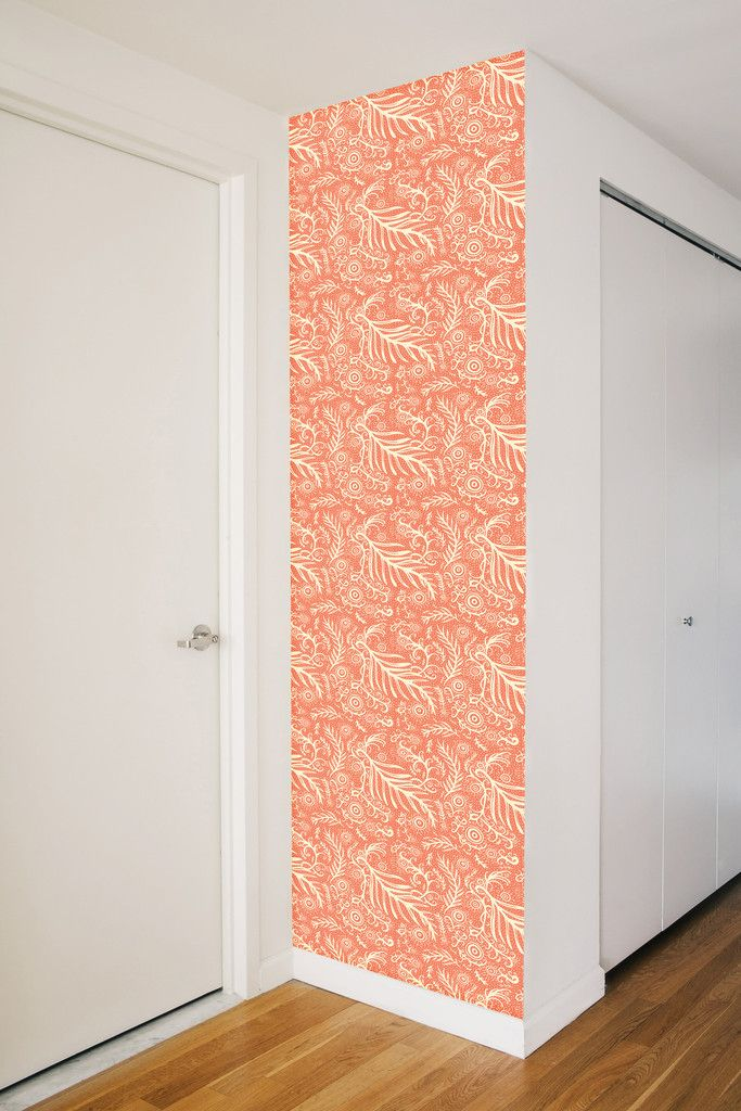 Removable wallpaper   Chasing Paper   Little Leaf pattern in rust 683x1024