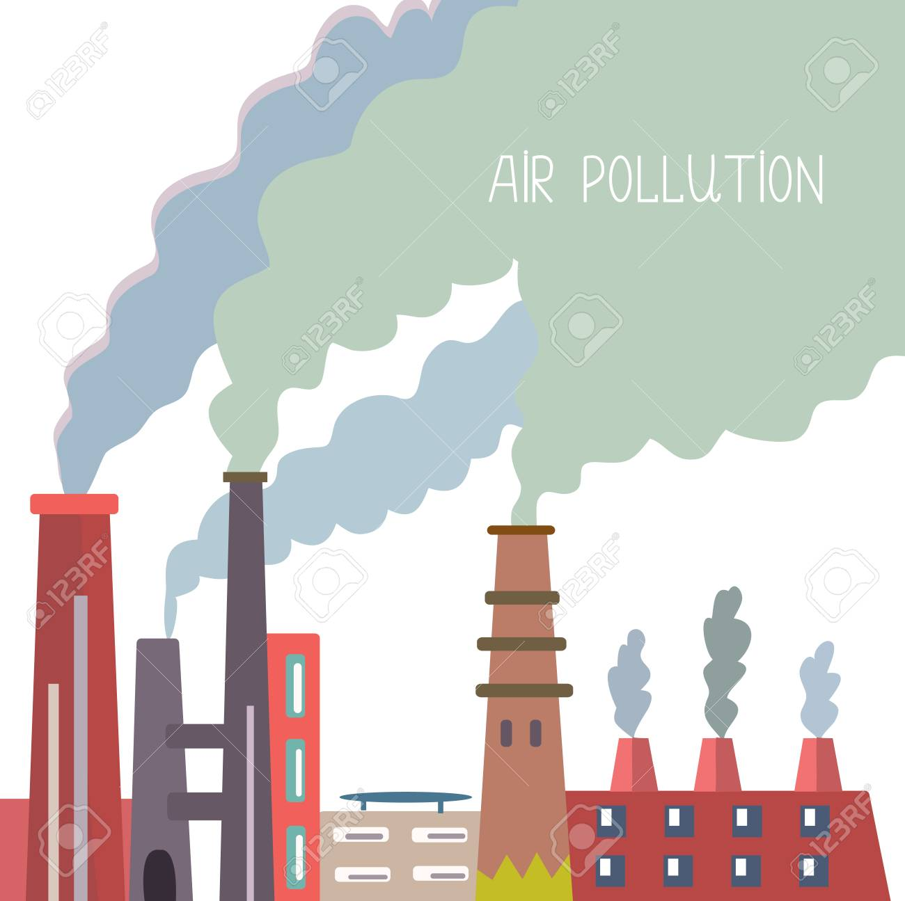 Air Pollution Background With Pipes And Smoke Vector Graphic 1300x1295