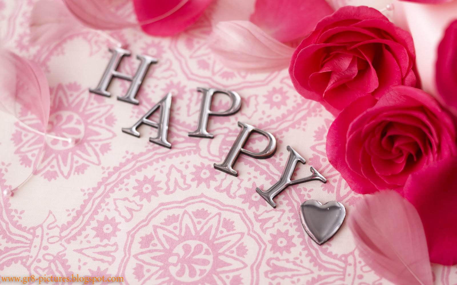 Happy birthday wallpaper with pink roses wallpaper 1600x1000