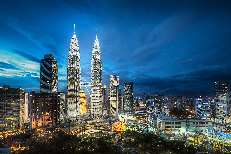 Malaysia Skyscrapers Houses Megapolis Night Kuala Lumpur Cities 3000x2000