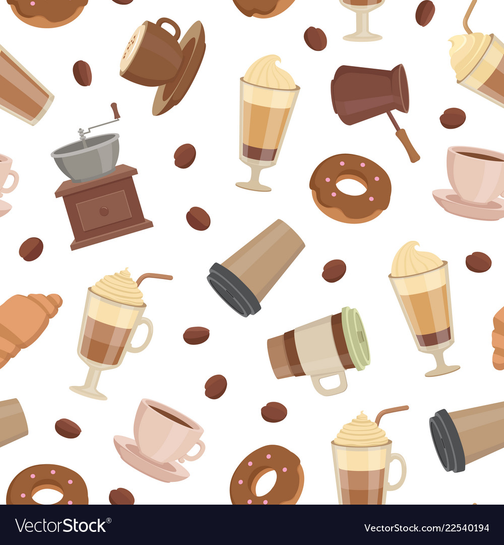 Cartoon coffee types pattern or background Vector Image 1000x1080