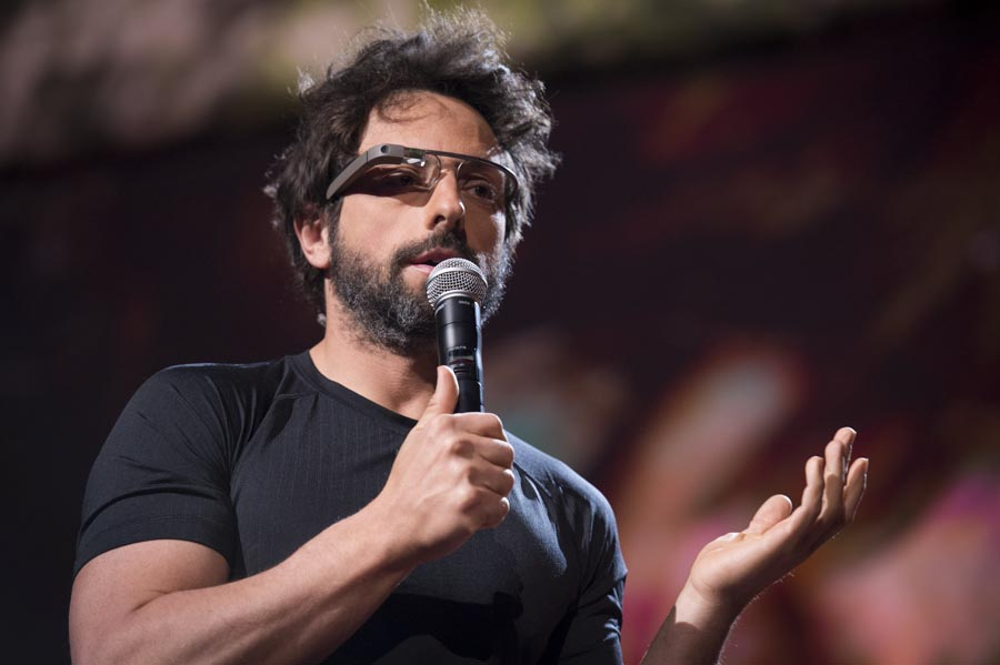 Sergey Brin with Google Glass at TED2013 TED Blog 900x599