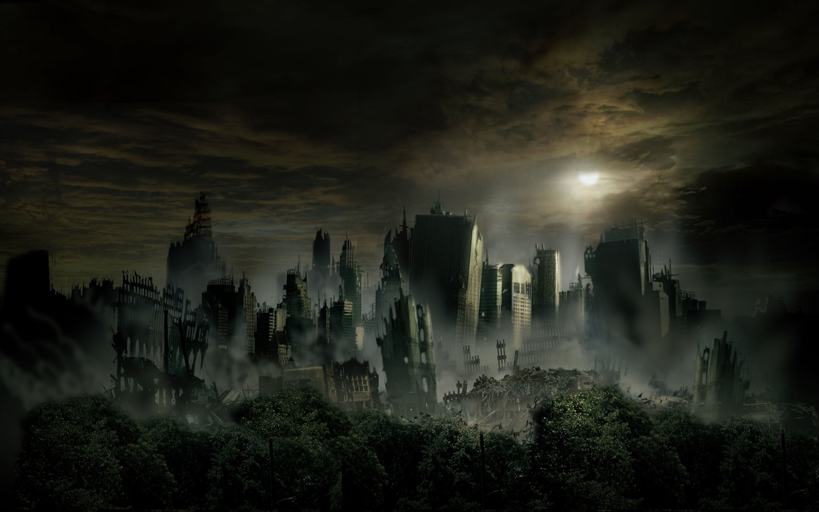 Ruins Dark Wallpaper 1680x1050 Ruins Dark City Night 1680x1050