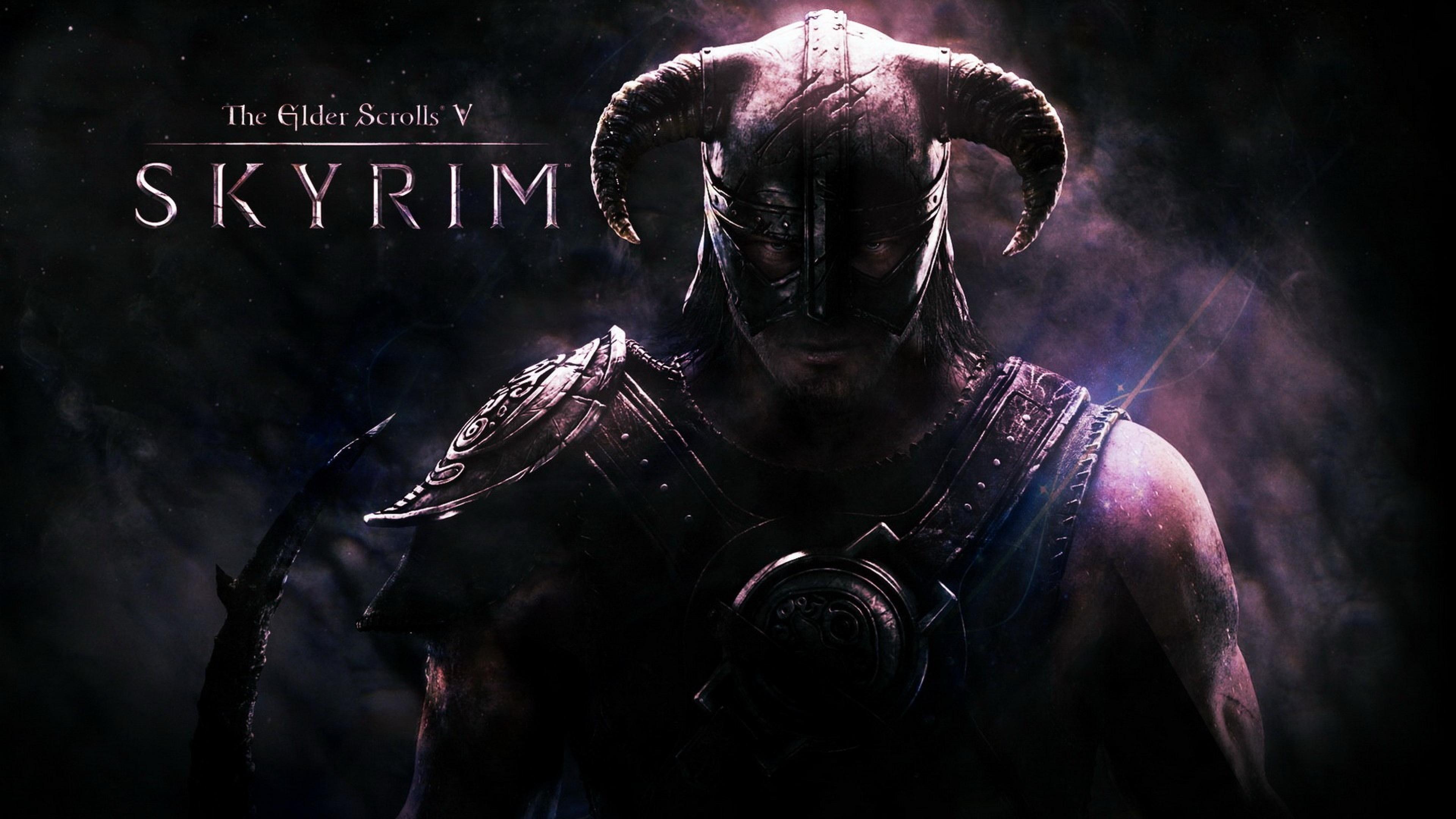 Download Wallpaper 3840x2160 the elder scrolls skyrim warrior helmet 3840x2160
