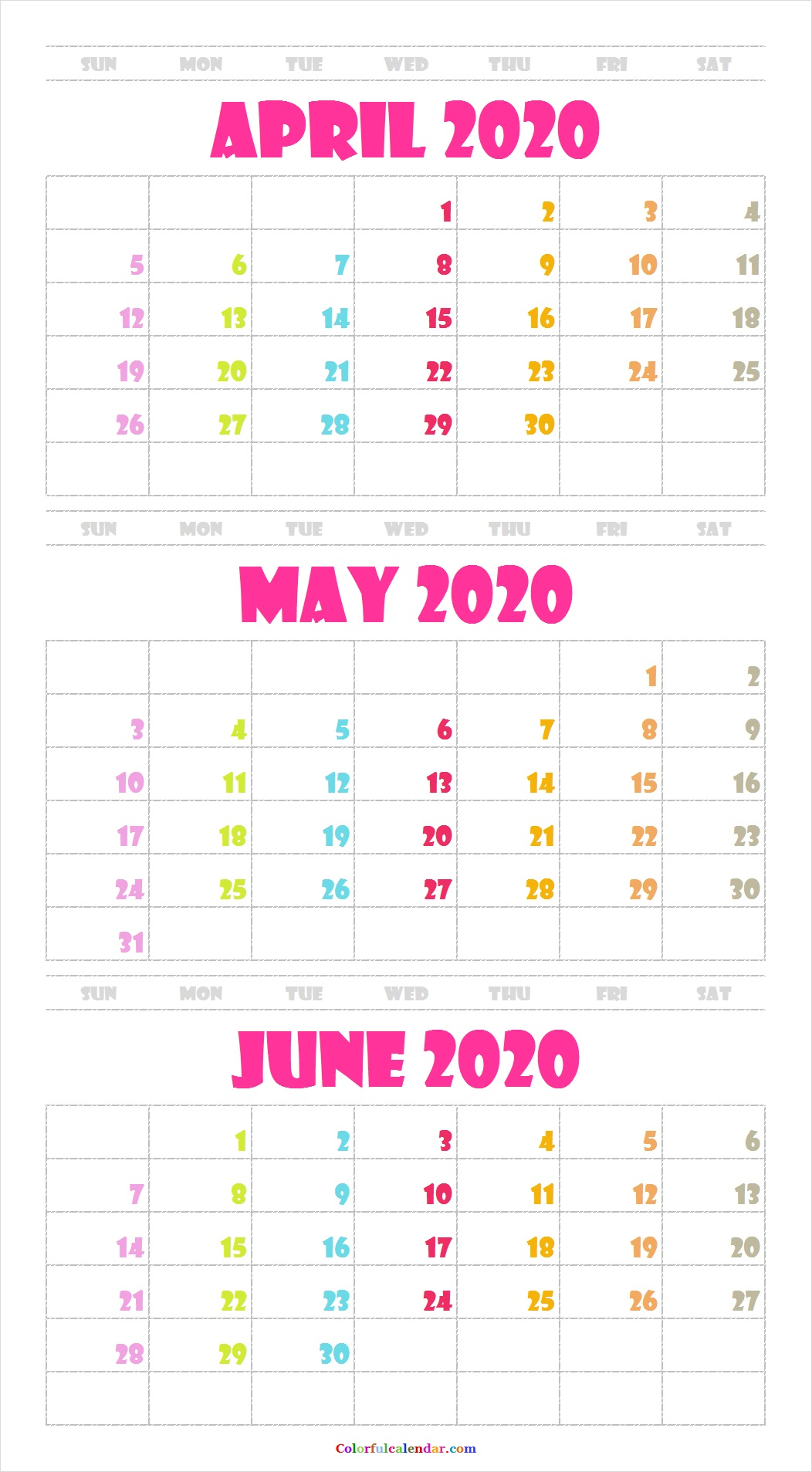 Cute April May June 2020 Calendar Wallpaper 2020 Calendar 1052x1907