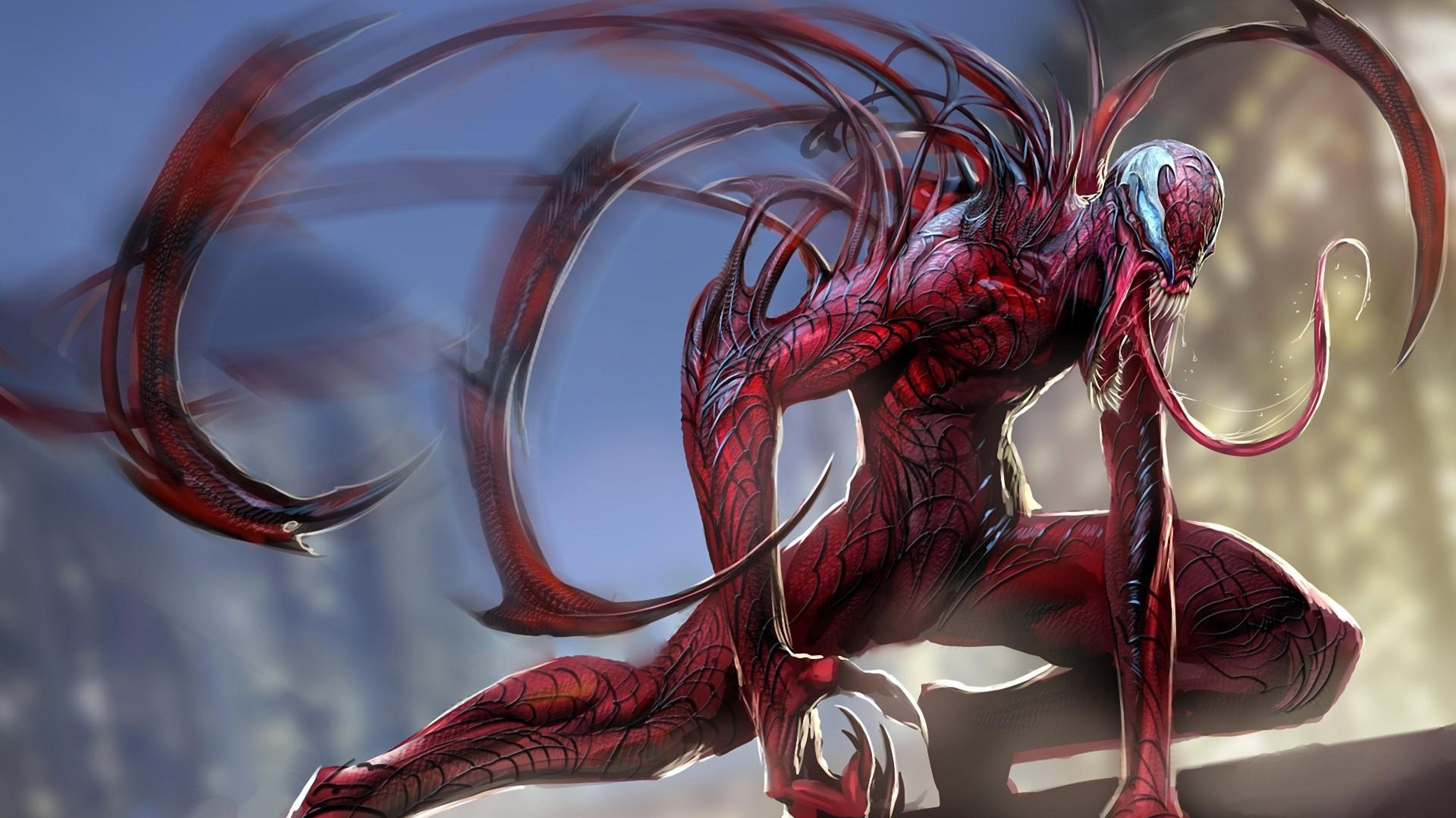 Download Wallpaper 3840x2160 Carnage Spider man language Monster 4K 3840x2160
