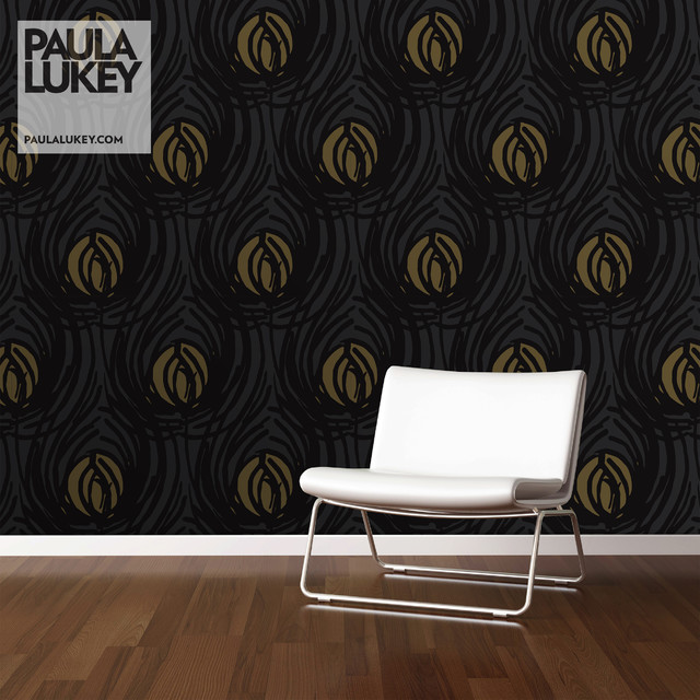 Custom Wallpaper and Feature Wall   HOLLYWOOD GLAM PEACOCKS   Eclectic 640x640