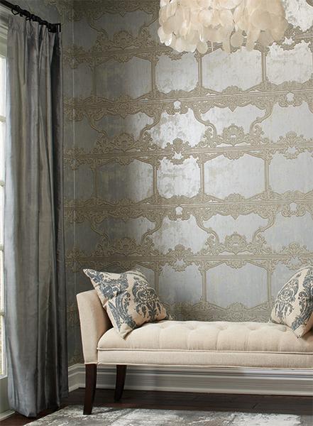 Venetia Wallpaper in Silver by Ronald Redding for York Wallcoverings 441x600