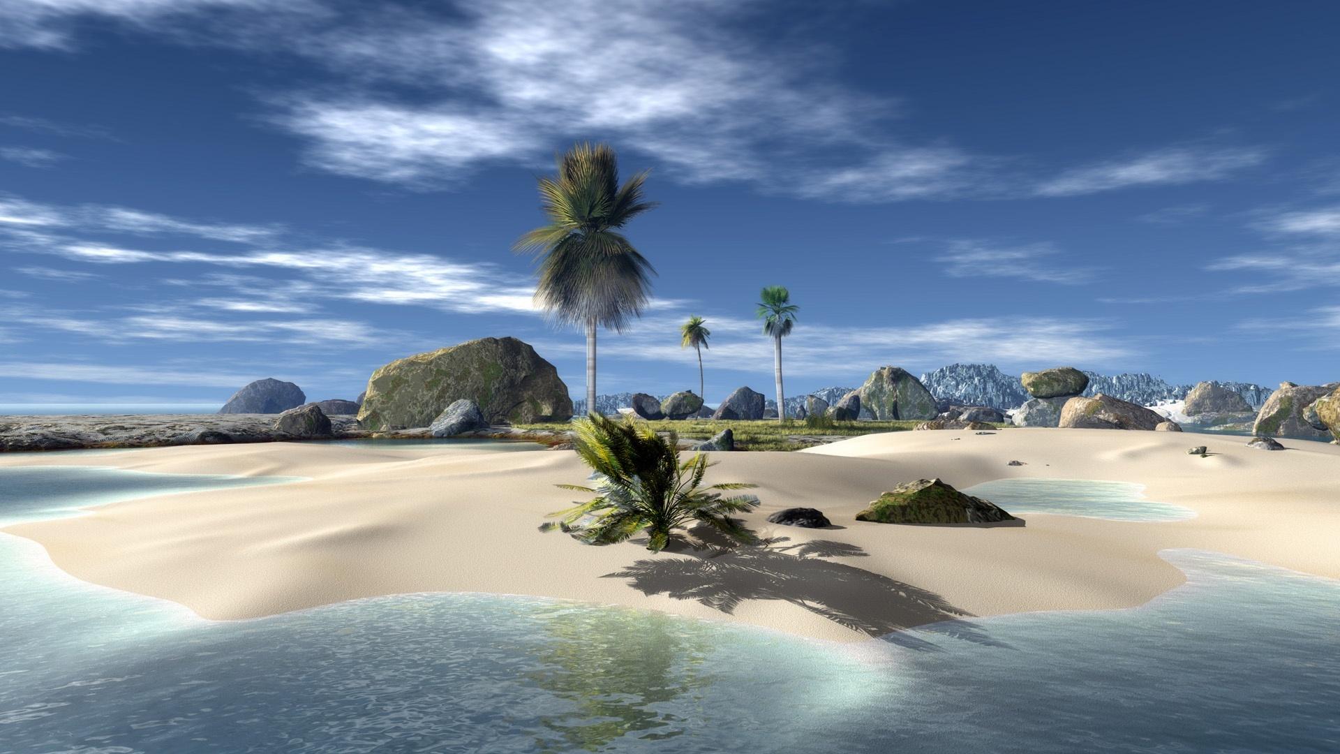 3D Paradise Beach HD 1920x1080