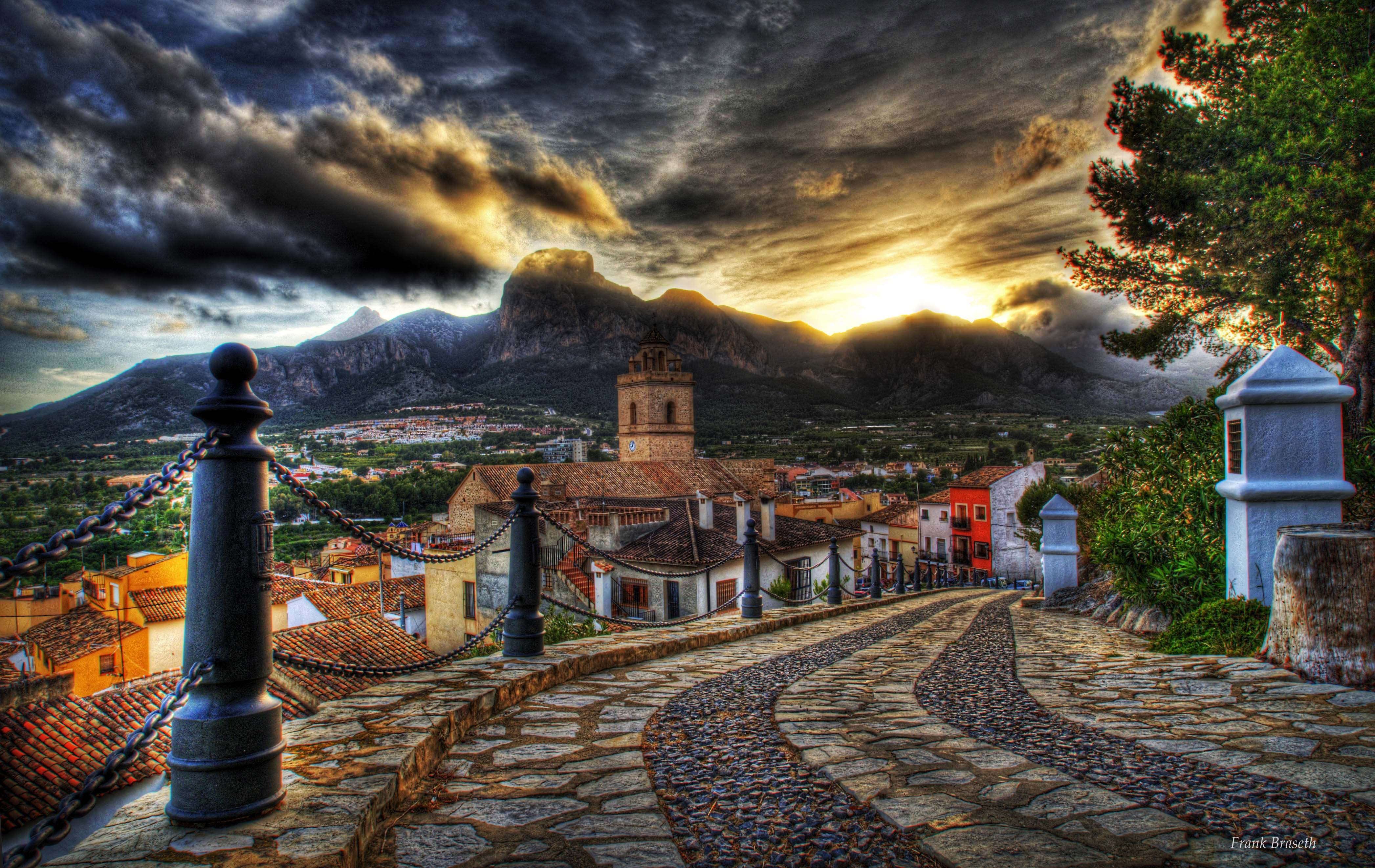 Architecture street mountain hdr old sky sunset road clouds 4188x2644