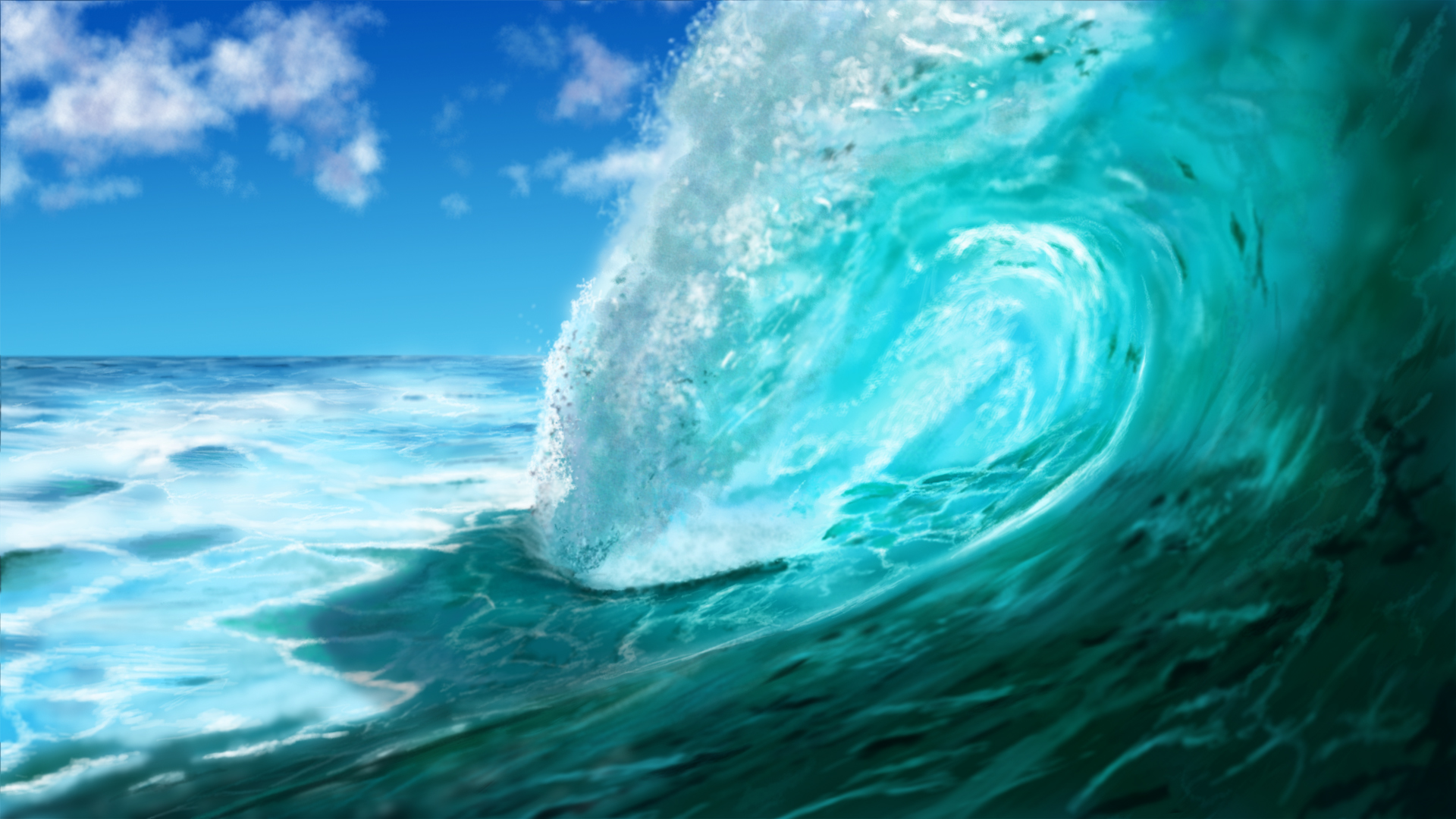 painted Wallpaper   Ocean Wave Meereswoge Welle by dasflon on 1920x1080