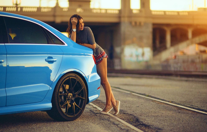 Wallpaper Audi Girl Legs Blue Vorsteiner Sun Day Nice 1332x850