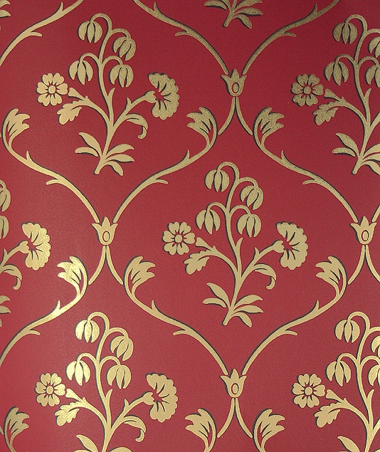 Cranford Wallpaper Red wallpaper with a floral ogee motif in gold 534x635