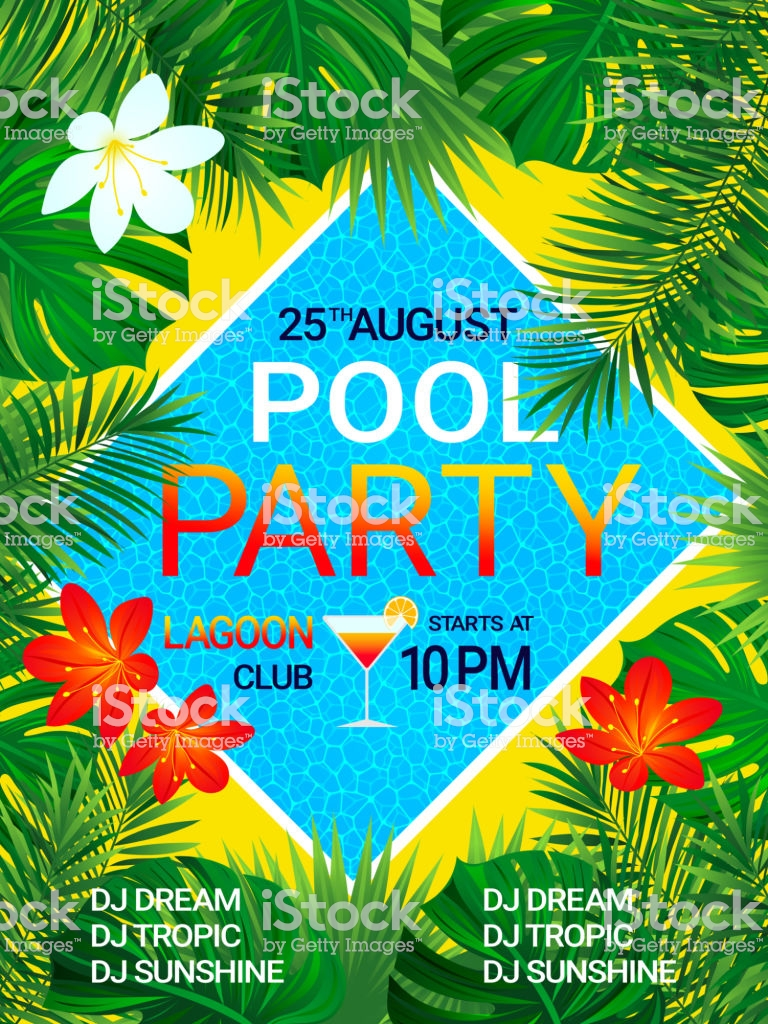 Pool Party Poster Tropical Background With Text Summer Design 768x1024