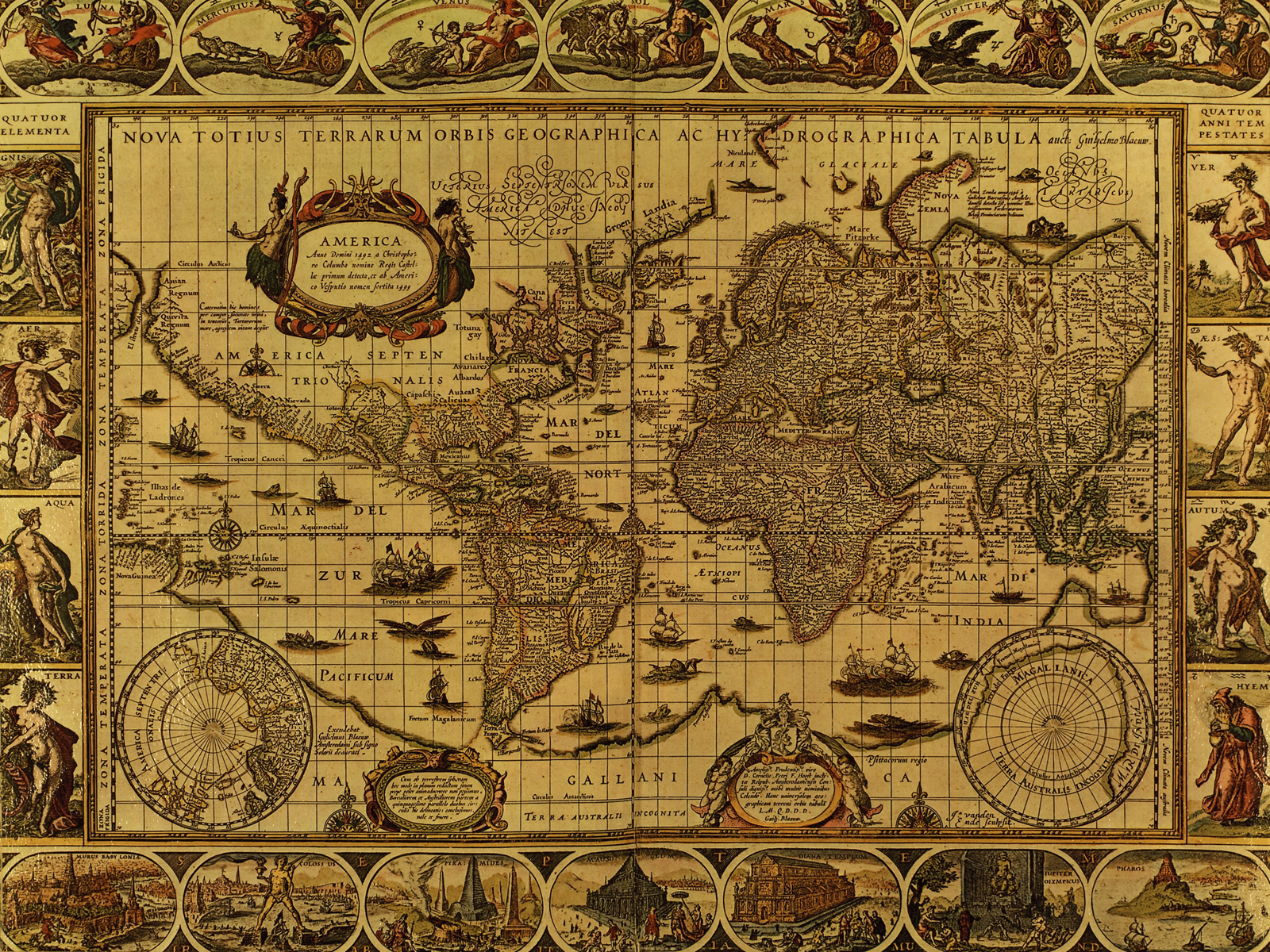 Old world map historic map antique style world map vintage map home antique map wallpaper antique map wallpaper 1600x1200 gumiabroncs Gallery