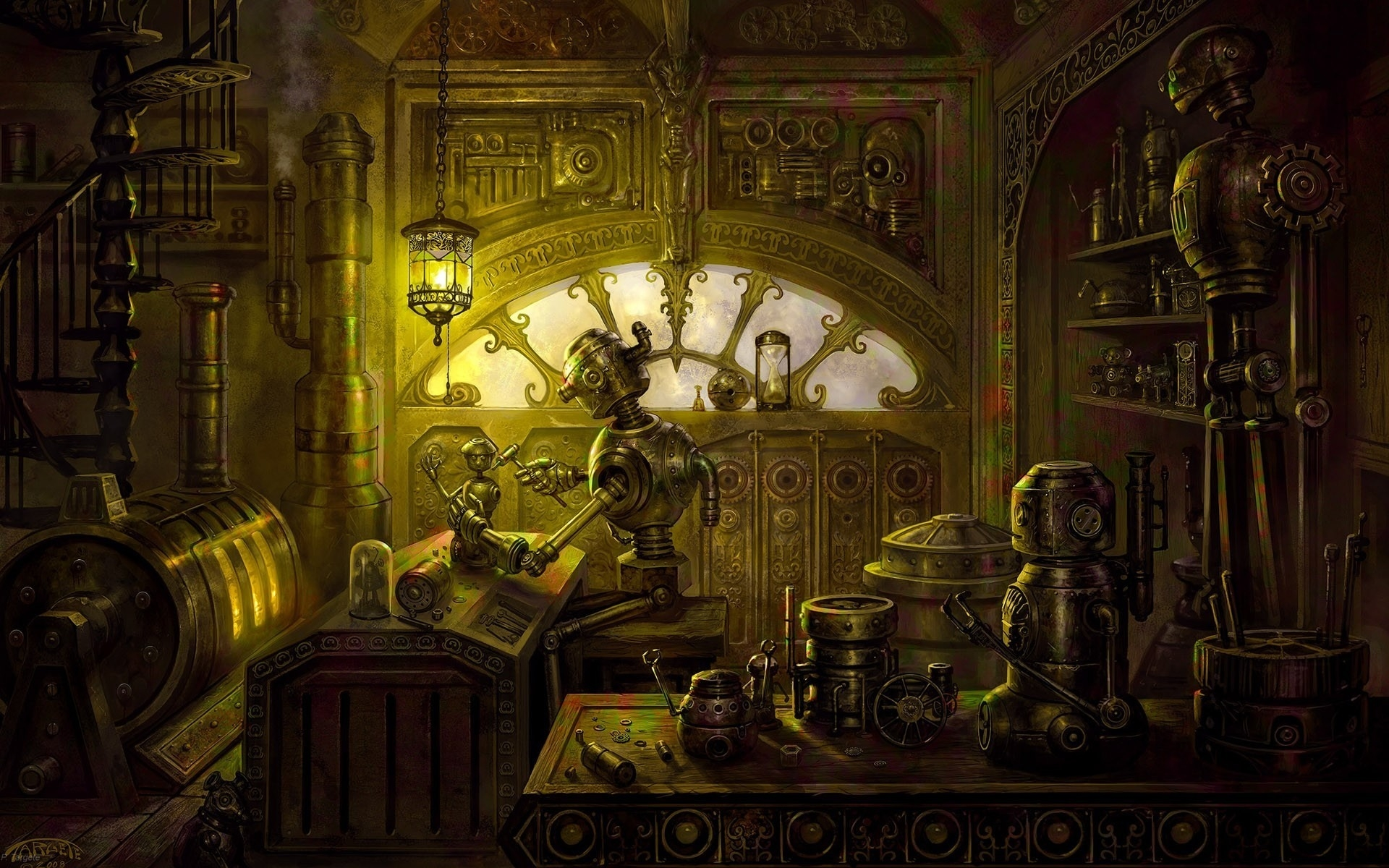 Steampunk mechanical room robots wallpaper 1920x1200 62283 1920x1200