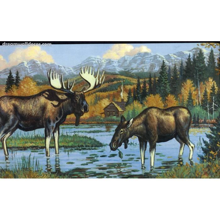 Black Moose Wallpaper Border 700x700