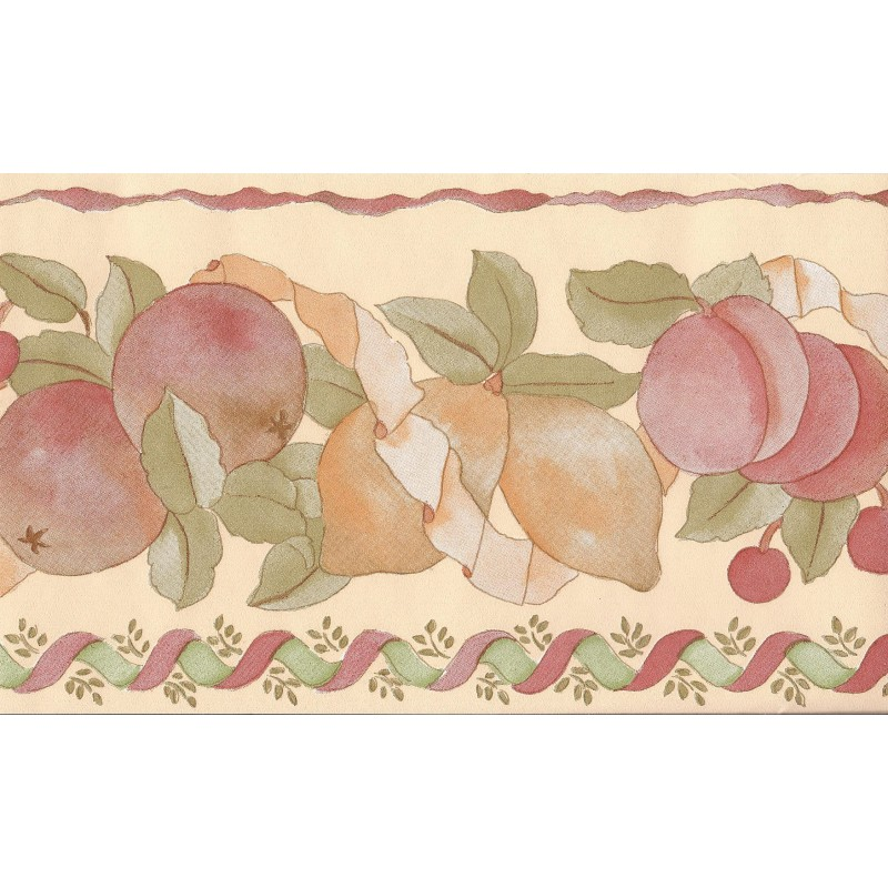 Home Fruit Vinyl Wallpaper Border in Peach 561644 by Coloroll 800x800