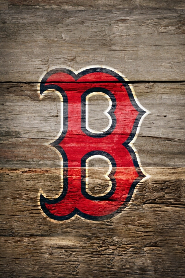 Boston Red Sox Logo on Wood iPhone 4s Wallpaper 640x960