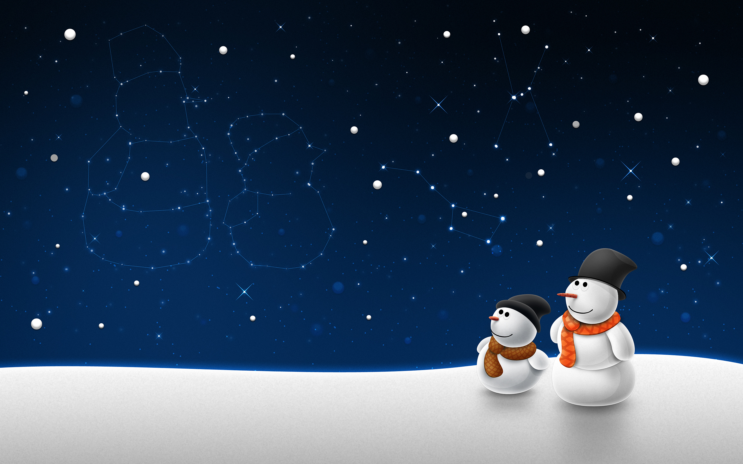 Wallpaper winter snowman stars constellations wallpapers new year 2560x1600